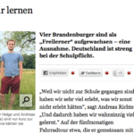 Artikel über Freilerner im Tagesspiegel, Homeschool News, Jan und Bernice Zieba