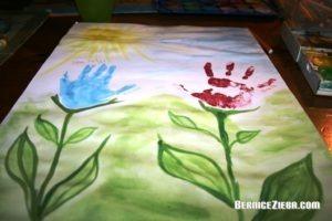 Blumen mit Handabdrücken