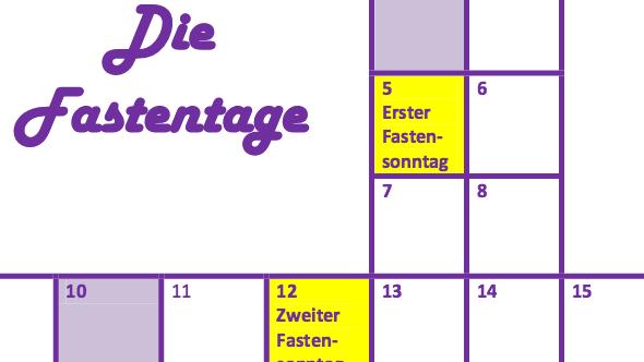 Zeitplan, Arbeitsblatt und Leiterspiel, Die Fastenzeit bis Ostern