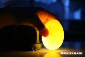 Taschenlampe bringt Ei zum leuchten, Torch makes egg shine