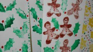 Kartoffelstempfel-Weihnachtskarten, Potatoe Print Christmas Cards