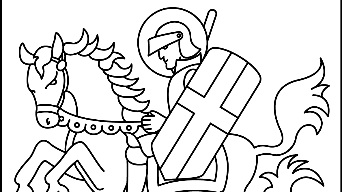 saint-george-killing-the-dragon-coloring-page Cropped